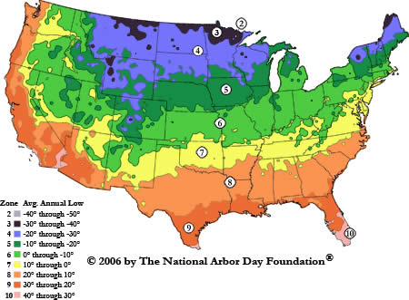 Hardiness Zone Search BGI Premium Plant Foods - Us average winter temperature map